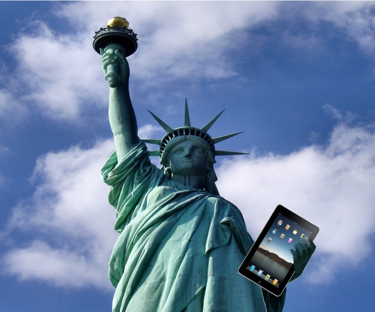 Statue Of Liberty holding a Mac
